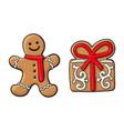 gingerman present christmas gingerbread cookies vector image vector image