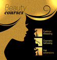 Gold beautiful girl silhouette of woman bea vector image vector image
