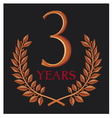 Golden laurel wreath 3 years vector image