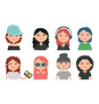 group girls youth urban style characters vector image