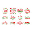 happy holidays merry christmas joys lettering text vector image vector image