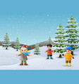happy kids playing in winter landscape vector image vector image