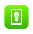 idea lamp on gadget screen icon digital green vector image