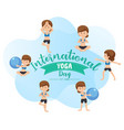 international yoga day banner with woman doing vector image vector image