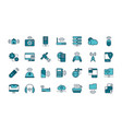 internet things line and fill icons set vector image