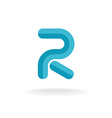 Letter R logo Flat bevel technical style vector image vector image