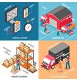 Logistics 2x2 Isometric Design Concept vector image vector image