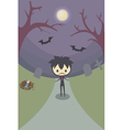 lonely boy in grave yard at night under moonlight vector image