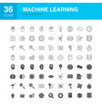 machine learning line web glyph icons vector image