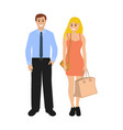 man and woman with a package vector image