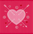 minimalist flat valentine heart design vector image vector image
