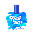 nail bar creative banner blue nail polish stroke vector image