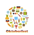 Oktoberfest Colorful Symbols in Round Frame vector image vector image