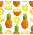 pattern with cartoon pineapple isolated on vector image vector image
