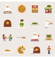 Pizzeria Icons Set vector image vector image