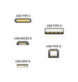 realistic detailed 3d usb types set with vector image vector image