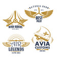 retro icons for aviation airplane pilots vector image vector image