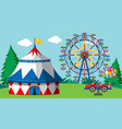 scene with ferris wheel and big tent in fun vector image vector image