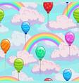 seamless pattern with cartoon rainbows vector image