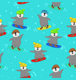 seamless pattern with penguins snowboarders image vector image