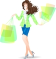 Shopping Day girl in spring vector image vector image