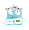 shy creature monster with sign vector image