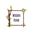 square wooden frame of branches with green leaves vector image vector image