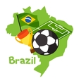 stylized map brazil with soccer ball and flag vector image