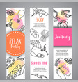 summer hand drawn banner beach doodle elements vector image