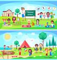 summer school and children camp vector image