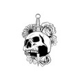 tattoo skull with roses and knife vector image