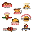 Thin linear symbols for fast food or bakery design vector image vector image