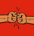 two clenched fists bumping together concept vector image vector image