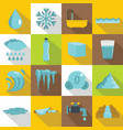 water icons set flat style vector image vector image