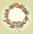 western christmas wreath with cowboy decoration vector image vector image