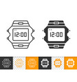 wristwatch simple black line icon vector image