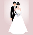 young oriental couple newlyweds wearing vector image