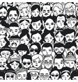 seamless pattern of crowd different people woman vector image