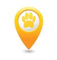 animal footstep MAP pointer yellow vector image vector image