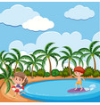 background scene with children playing on the vector image vector image