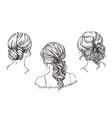 bridal hand drawn hairstyles vector image vector image