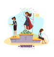business winners podium background vector image