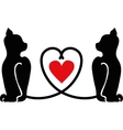 Cat silhouettes with heart vector image vector image