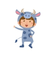 Child Wearing Costume of Cow vector image vector image