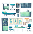 clinic interior doctor stuff isolated hospital set vector image vector image