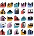 Collection flat icons with long shadow Finance vector image vector image