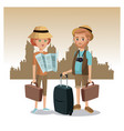couple tourist map luggage traveler urban vector image vector image