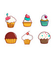 cupcake icon set cartoon style vector image