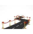 Curved road with gold balustrade and red bow vector image