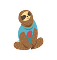 cute funny sloth lazy exotic rainforest animal vector image vector image
